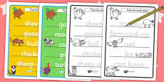 Trace the Words Worksheets to Support Teaching on Farmyard Hullabaloo