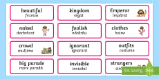 * NEW * The Emperor's New Clothes Word Cards English/Romanian