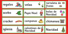 Christmas Topic Word Cards Spanish