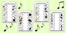 Music Shadow Matching Activity Sheet