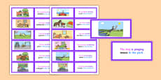 Picture Description Cards: Unusual Sentences - Who, What Doing, To What, Where