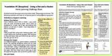 Foundation PE (Reception) - Using a Bat or a Racket Home Learning Challenge Sheet