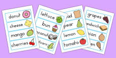 Australia - Food Topic Word Cards