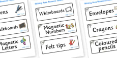 Zebra Themed Editable Writing Area Resource Labels