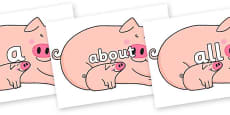 100 High Frequency Words on Hullabaloo Pigs to Support Teaching on Farmyard Hullabaloo
