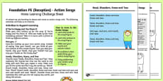 Action Songs Home Learning Challenge Sheet