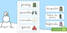 Tarjetas de vocabulario: La ropa invernal