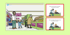 Supermarket Scene and Question Cards Polish Translation