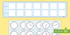 Calendario de exposición: Horario visual con relojes