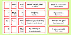 Basic Phrases Word Cards Portuguese Translation