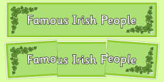 Famous Irish People Display Banner