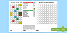 * NEW * Number Squares Addition and Subtraction Activity Sheets