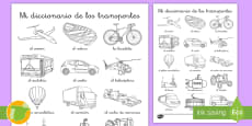 * NEW * Hoja de colorear de vocabulario: El transporte