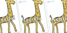 Wow Words on Giraffe