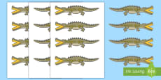 Palabras temáticas en imágenes: Menos que, más que en cocodrilos