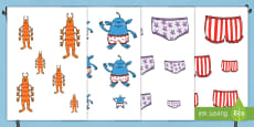 Size Ordering Activity to Support Teaching on Aliens Love Underpants
