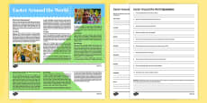Easter Around the World Reading Comprehension Activity