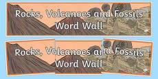 Rocks, Volcanoes and Fossils Word Wall Display Banner