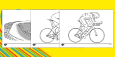 The Olympics Cycling Colouring Sheets