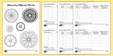 KS1 Maths Wheels Measuring Activity Sheet