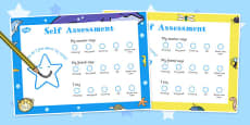 Child Self Assessment Sheets Smiley Face