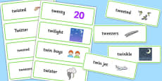 Two Syllable TW Word Cards