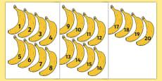 Banana-Themed Number Fan 1-20