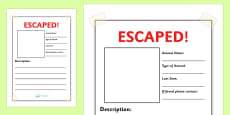 Escaped Animal Writing Frames Plain