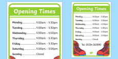 Shoe Shop Role Play Opening Times