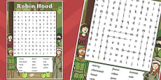 Robin Hood Wordsearch