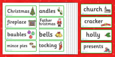 Christmas Topic Word Cards