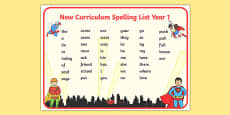 Superhero Themed Spelling List Year 1 Word Mat