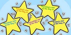 Editable Weekday Star of the Week on Stars