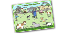 On the Farm Scene Word Mat