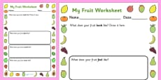 Fruits Description Activity Sheet
