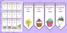 Mother's Day Editable Bookmarks