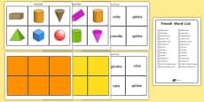 3D Shape Bingo French