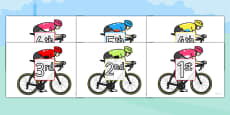 Tour de France Cyclists Ordinal Number Sorting Activity