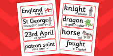 St. George's Day Word Cards Romanian Translation