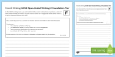 GCSE French Open Ended Writing 2 Foundation Tier Activity Sheet