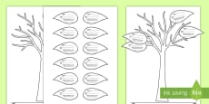 * NEW * All About My Family Tree and Leaf Activity Sheet English/Polish