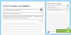 GCSE French Translation into French 2 Higher Tier Activity Sheet