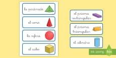 * NEW * Tarjetas de vocabulario: Figuras 3D