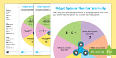 * NEW * Year One Fidget Spinner Number Warm-Up Activity