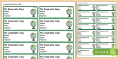 Pupil Geography Copybook Labels