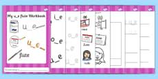 Phase 5 'u_e' Flute Grapheme Workbook
