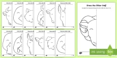 Farm Animals - Draw the Other Half Aistear Activity Sheet