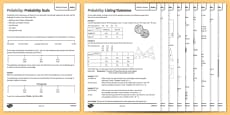 Maths Need to Knows Probability Activity Sheet