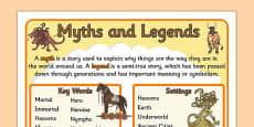 Story Genres Myths and Legends Display Posters