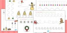 Christmas Pencil Control Worksheets (Australia)